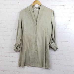 Helmut Lang Distressed raw hem button down
